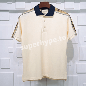 Gucci Monogram Pattern Polo Shirt (Beige)